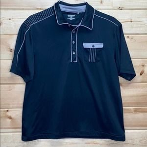 OGIO Large Golf Polo Button Stripped Large